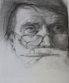 3c Selbstporträt mit Stift 1991 2